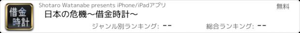 おすすめアプリ 日本の危機〜借金時計〜